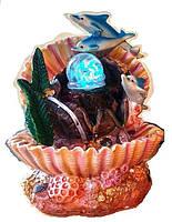Фонтан декоративный комнатный Коралловый риф 3-и дельфина ракушка с бочкой и золотом 6047 Размер  27=20=15