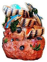 Фонтан декоративный комнатный Коралловый  риф 3-и открытые раковины и 3-и дельфина 6006 Размер 27=20=15