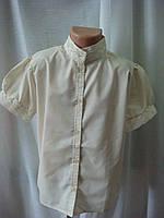 Классическая блузка для девочки с коротким рукавом бежевая