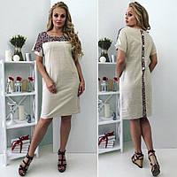 Стильное женское платье лен большой размер, фото 1