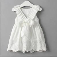 Платье для девочки летнее белое хлопковое