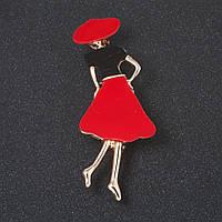 """Брошь """"Девушка в красной шляпке """" красное и черное стекло,  цвет металла  """"золото"""" 6см"""