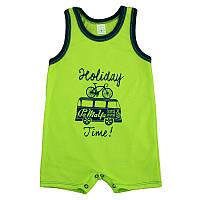 Детский песочник-футболка Holiday р. 74 ткань КУЛИР-ПИНЬЕ 100% тонкий хлопок ТМ ПаМаМа 3704 Салатовый