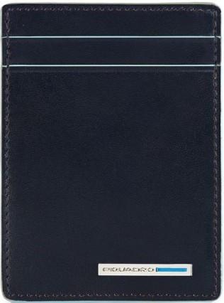 Практичная кожаная кредитница Piquadro Blue Square с зажимом для банкнот PP3893B2_BLU2, синий