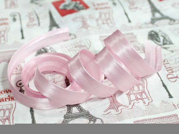 Косая бейка атласная 1,5см. светло- розовая, фото 2