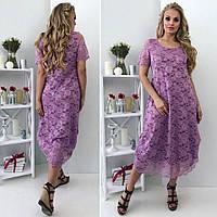 Летнее женское платье большой размер гипюр. Размер 50,52,54,56 , фото 1