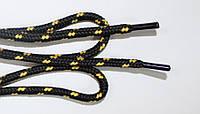 Шнурки 5мм плотные черный+желтый, фото 1