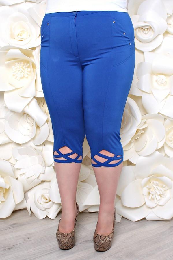 Летние капри большой размер Переплет электрик (52-60) - FaShop  Женская одежда от производителя в Харькове