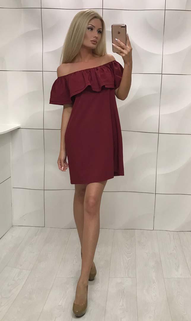 Платье женское с открытыми плечами свободного фасона ft-253 бордовое