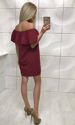 Платье женское с открытыми плечами свободного фасона ft-253 бордовое, фото 2
