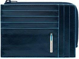 Современная кожаная кредитница Piquadro Blue Square с отделом на молнии PU1243B2_BLU2, синий