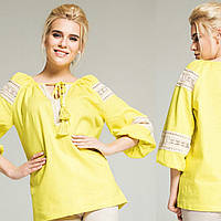 Оригінальна жіноча блуза жовтого кольору, Льон, фото 1
