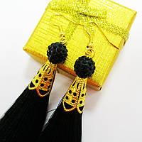 Серьги-кисти черные, длинные