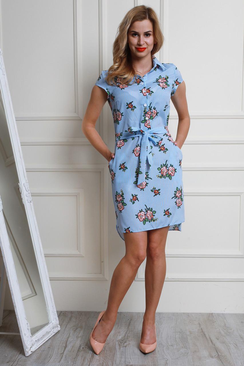 c8492bf0bd5 Отличное повседневное платье-рубашка с цветочным рисунком - Оптово-розничный  магазин одежды