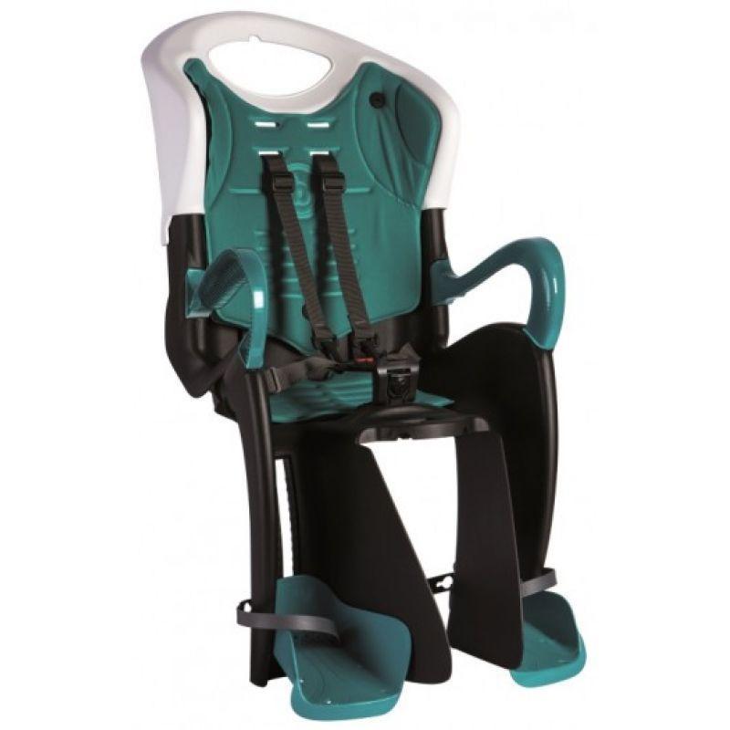 Детское велокресло заднее Bellelli Tiger Сlamp (на багажник) до 22 кг (BB) Черно-белое с бирюзовой подкладкой