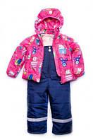 """Куртка-жилет (трансформер) для девочки """"Animals"""" (малина)"""