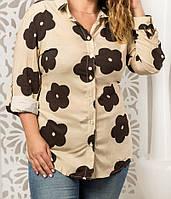 Рубашка из штапеля с цветами женская батальная, фото 1