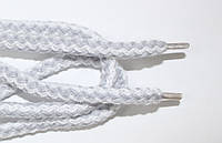 Шнурки круглые 8мм акрил, белый+св.серый, фото 1