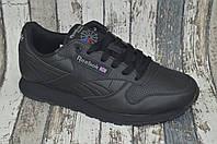Кожаные черные женские кроссовки Reebok Classic