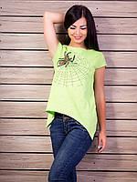 Нежная воздушная женская футболка c паучком удлиненная по бокам салатовый, 42-44