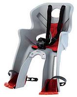 Детское велокресло переднее Bellelli Rabbit B-fix до 15 кг (BB) Серебристое с красной подкладкой