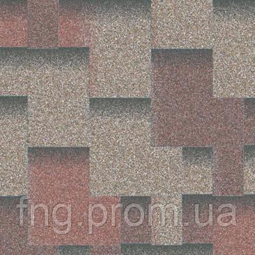 """Битумная черепица AQUAIZOL """"АКЦЕНТ"""" Кедровый (красный + серый+ коричневая тень)"""