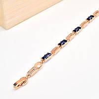 Браслет 54426 длина 18(+2) см, ширина 4 мм, синие камни, позолота РО