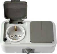 Выключатель 2-клавишный + розетка с з/к IP 54, серый, Пралеска Аква Bylectrica