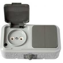 Выключатель 2-клавишный + розетка без з/к IP 54, серый, Пралеска Аква Bylectrica