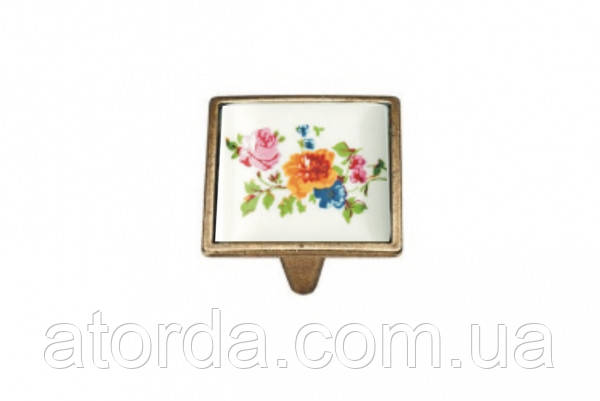 Ручка мебельная Ozkardesler 5352-08/42 керамика 32 мм PORSELEN Бронза Цветы
