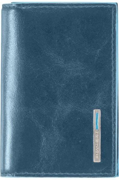 Оригинальная кожаная визитница Piquadro Blue Square для своих визиток на кнопке PP1899B2_AV2, синий
