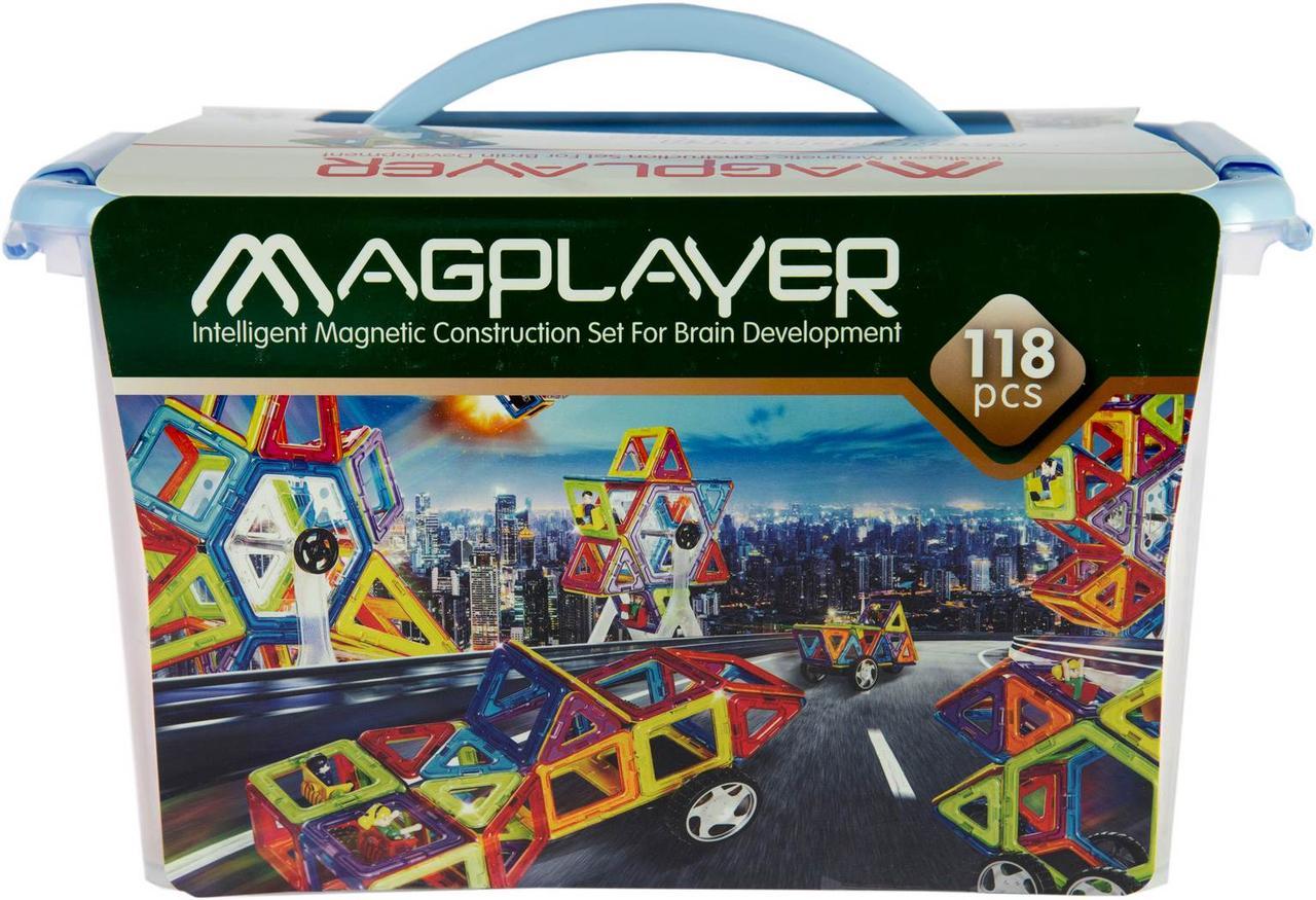 Конструктор Magplayer магнитный набор 118 эл. MPT-118