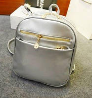 Рюкзак женский кожзам городской Уценка серебро, фото 1