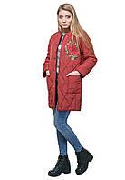 Зимнее стеганое пальто с вышивкой бордо DASTI