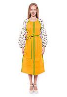 Украинское летнее платье из льна в желтом цвете DASTI