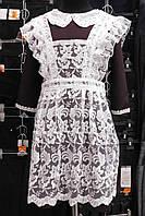 Платье школьное и белый фартук  гипюр,размеры 36-46,S958