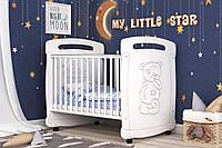 Детская кроватка для новорожденного «Мишка Тедди» ТМ Pinocchio  (опции: ящик, регулировка бортика, маятник) кроватка с ящиком