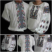 "Вышитые семейные рубашки ""Летний вечер1"", домотканка, 42-58 р-ры, 1160/1060 (цена за 1 шт. + 100 гр.)"