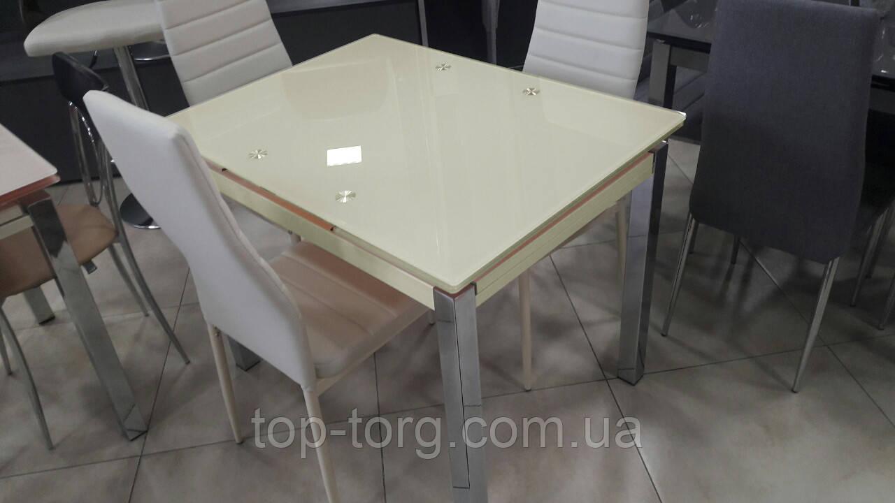 Стол ТВ014 бежевый 960(+2вставки по 30)х700мм раскладной, без узоров