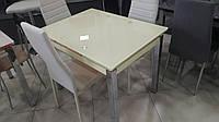 Стол ТВ014 кремовый 960(+2вставки по 30)х700мм раскладной, без узоров