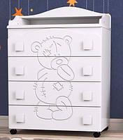 Комод с выдвижными ящиками и пеленатором «Тедди» для детской комнаты ТМ Pinocchio
