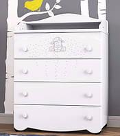 Комод с пеленатором «Юджин» в детскую комнату ТМ Pinocchio белый