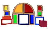Goki Конструктор деревянный Радужные строительные блоки с окнами, арт. 58620