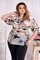 Легкая блузка для полных женщин 0544 цветы серые
