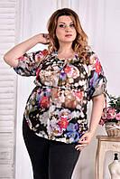 Легкая блузка для полных женщин 0544 цветы красные