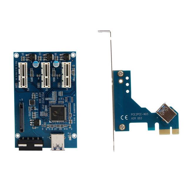 PCI-E 1X хаб концентратор разветвитель множитель PCI-E 1 1X to 3 1X USB 3.0