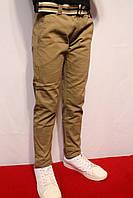 Весенне-осенние, стрейчевые котоновые брюки песочного цвета, для подростков от 8 до 16 лет(Осень-Весна-2017г)