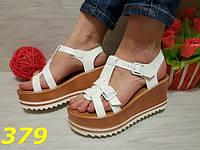 37,38!    Босоножки женские белые на высокой платформе, женская летняя обувь