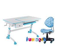 Растущая парта-трансформер FunDesk Amare Blue с выдвижным  ящиком + Детское кресло SST5 Blue