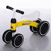 Беговел Baby-Bike 859-6 колеса EVA+кож сиденье, желтый ***